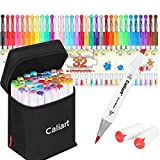 Caliart 51 Colors Alcohol Brush Markers (Brush & Chisel) + 32 Colors Gel Pen Set Sketch Markers Pens for Kids, Artist Art Markers, Adult Coloring and Illustration