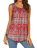 Halife Juniors Floral Tank Top Sleeveless Tunic Blouse Shirt Pleated Flowy Tank for Women Red1,M