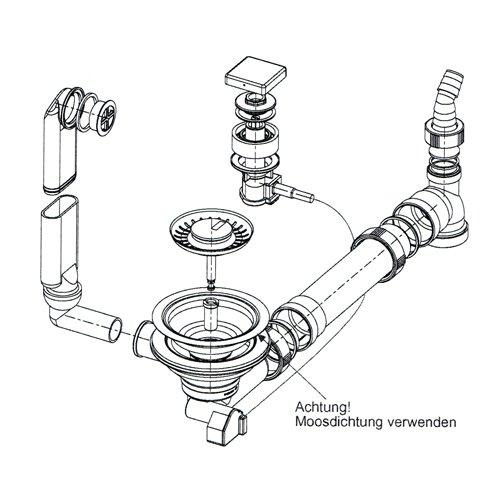FRANKE Ab- und Überlaufgarnitur mit Excenterbedienung für Fragranit Spüle MYTHOS MTG 611 / Ablaufventil / Ablaufgarnitur / Ersatzteil / Spülenablauf