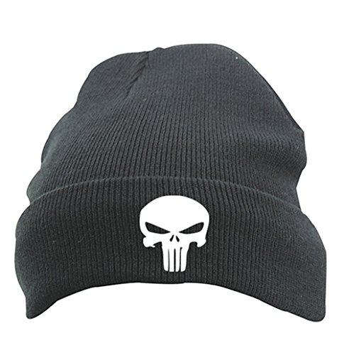TRVPPY Herren Strickmütze Mütze Beanie mit Thinsulate, Modell The Punisher, Schwarz