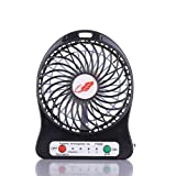 C-Caravan 4-inch Personal Battery Operated Fan Rechargeable,2200 mAh,3 Mode Speeds with LED Light, Quiet (Black)