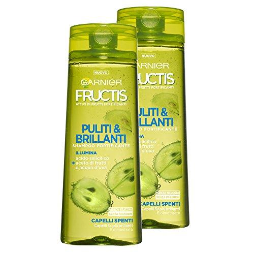 Garnier Fructis Shampoo sauber & Brillanten mit Salicylsäure für ausgeschaltet Haar, ohne Silikone und ohne Parabene, 250ml–3Packungen von 2Einheiten