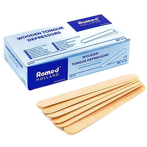 AIESI® Depresores de madera NO ESTERILES de un solo uso (Paquete de 100 piezas)