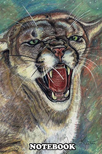 """Notebook: A Fierce Illustration Of A Big Cougar Ready To Strike , Journal for Writing, College Ruled Size 6"""" x 9"""", 110 Pages"""