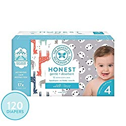 The Honest Company Super Club Box Diapers with TrueAbsorb Technology, Pandas & Safari, Size 4, 120 C