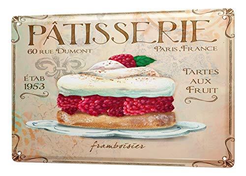 SECOFE Fun Raspberry Pie Pastelería 20,3 x 30,4 cm, estilo vintage, placa de metal con colores de color rápido, decoración de pared para cafetería bar, restaurante y pub signo