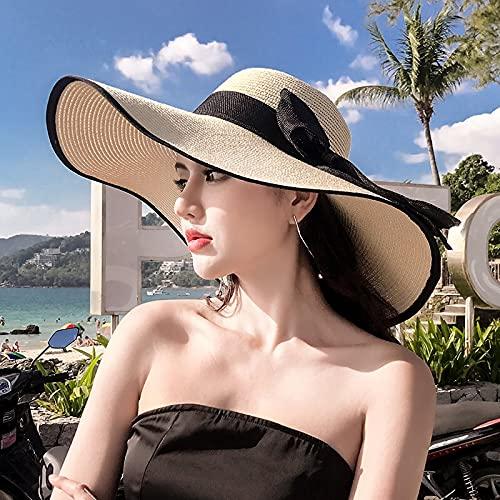 PPuujia Sombrero para el Sol K60 Lady'S Summer Beach Brim alarte Sombrero de Paja para Mujer Playa Hat Hat Sun UV Protección All-Match Cool Hat 50+ (Color : K60 19, Size : M(55 60cm) Adjustable)