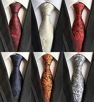 Adulove Men s Necktie Classic Silk Tie Woven Jacquard Neck Ties 6 PCS