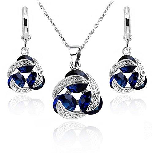 Redondo Zafiro simulado azul Cristales austríacos de Zirconia Juego de joyas Collar con colgante 45 cm Pendientes 18k Chapado en oro blanco