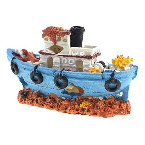 Youyabababay Aquarium Hars Boot Ornament, Fish Tank scheepswrak decoraties gezonken schip Ornament