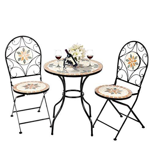 LUGEUK Conjunto de bistró de 3 Piezas, Terraza al Aire Libre Mesa de jardín y 2 Conjuntos de sillas Plegables, Muebles de balcón para el hogar, Acero Pesado y cerámica (Color : A)