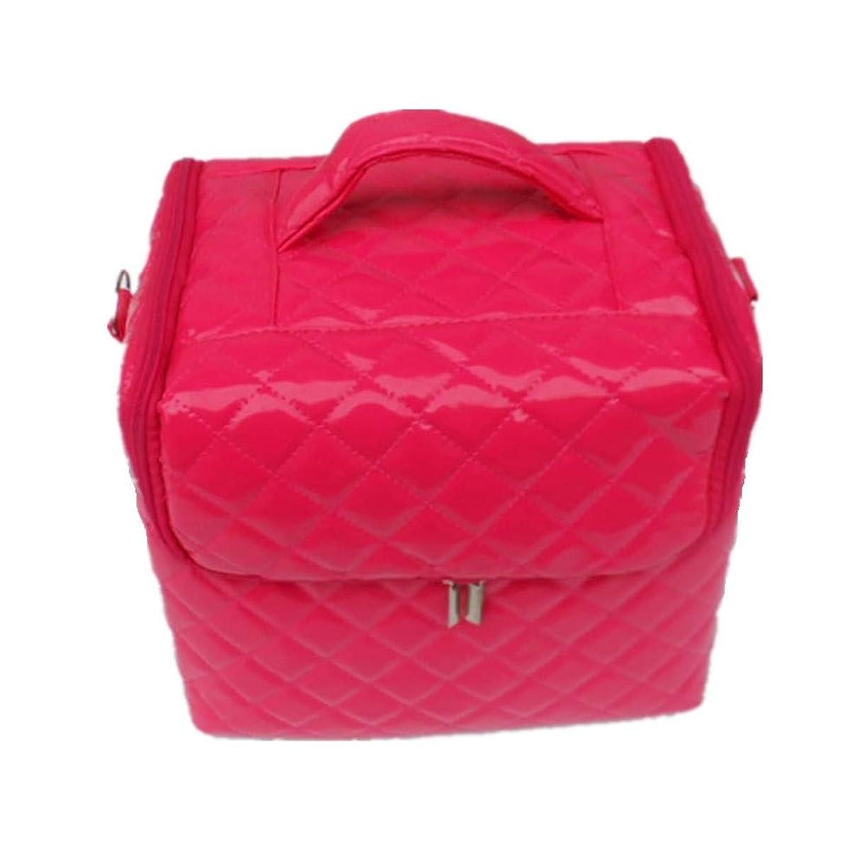 アウタースプーンすべき化粧オーガナイザーバッグ 美容メイクアップのための大容量ポータブル化粧品バッグと女性の女性の旅行とジッパーと折り畳みトレイで毎日のストレージ用 化粧品ケース