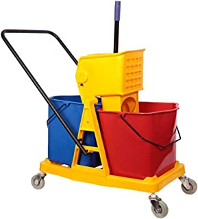 Eclat Double Mop Bucket with Trolley and Wringer - 46 Liters