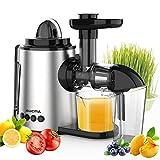 Aucma Licuadora Prensado en Frio, Licuadora Frutas Verduras,Extractor de zumos con Función inversa,Motor Silencioso,sin BPA,fácil de Limpiar con un Cepillo Extra