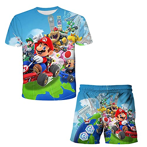 Camiseta y Pantalones de Mario Bros para Niños, Camiseta de Mario Pantalones Cortos para Niñas, Conjunto de Pijamas de Cosplay