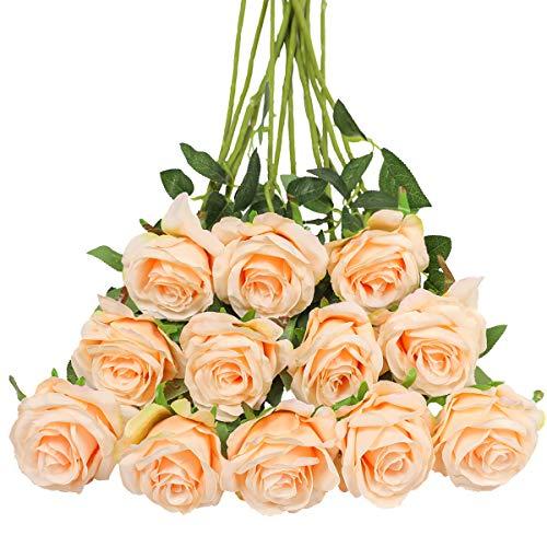 Tifuly 12 PCS Künstliche Rosen, 19,68 '' Single Long Stem Fake Rose Seide Braut Hochzeitsstrauß Realistische Blume für Hausgarten Party Hotel Büro Dekor (Blossom Roses, Leichter Champagner)