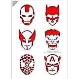 QBIX Superhero stencil - Ironman, Batman, Wolverine, The Hulk, Spiderman, Capitán América - Tamaño A5 - Plantilla reutilizable para niños para pintar, hornear, manualidades, cara