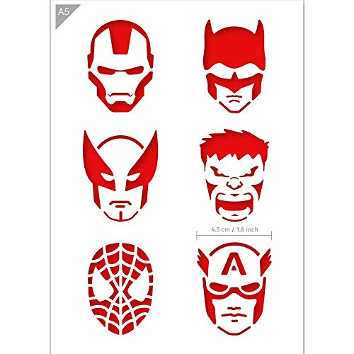 QBIX Superheroes Stencil - Ironman, Batman, Wolverine, The Hulk, Spiderman, Captain America - A5 Size - Reusable Kids Friendly DIY Stencil for Face Painting, Baking, Crafts, Wall, Furniture