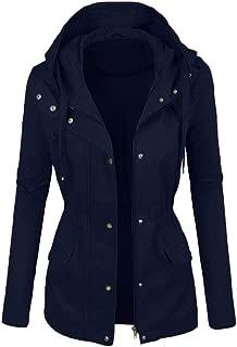 QIQIU Womens Plus Size Faux Leather Solid Hoooded Zipper Pockets Windbreaker Motorcycle Short Lapel Jacket Coats