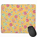 Red Lemon Green Lemon Daisy Non-Slip Personality Designs Gaming Mouse Pad Black Cloth Rectangle Mousepad Art Natural Rubber Mouse Mat with Stitched Edges