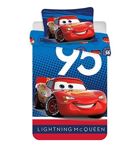 Juego de cama para bebé de Disney Cars 100% algodón, funda nórdica de 100 x 135 cm + funda de almohada de 40 x 60 cm