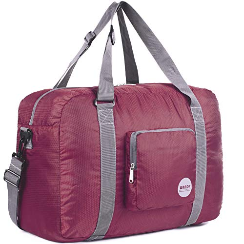 WANDF Foldable Travel Duffel Bag Super Lightweight for Luggage, Sports Gear or Gym Duffle, Water Resistant Nylon (40L de Vino Tinto)