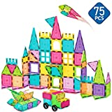 HOMOFY Kids Magnet Tiles Toys 75Pcs Oversize Clear Magnetic 3D Building Blocks Tiles Set Construction Playboards,Inspirational&Recreational&Educational Toys for 3 4 5 6 Year Old Boys Gilrs Gifts