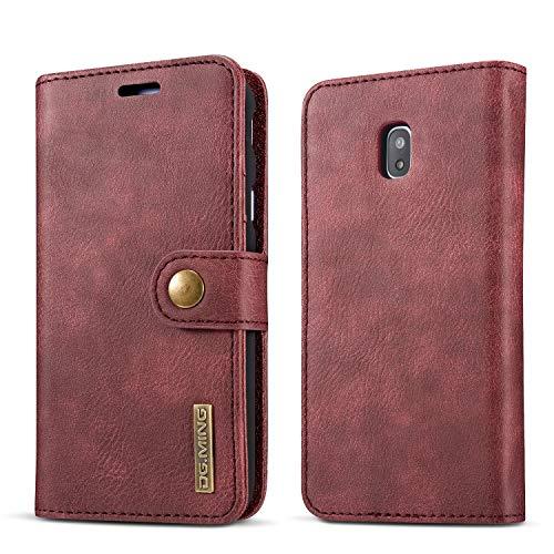 NOLOGO Caso proctive Caja del teléfono del Cuero del tirón del teléfono del Caso for Samsung Galaxy J730, for la Cubierta de Samsung J730 Retro Tarjeta Ranura del teléfono (Color : Red)
