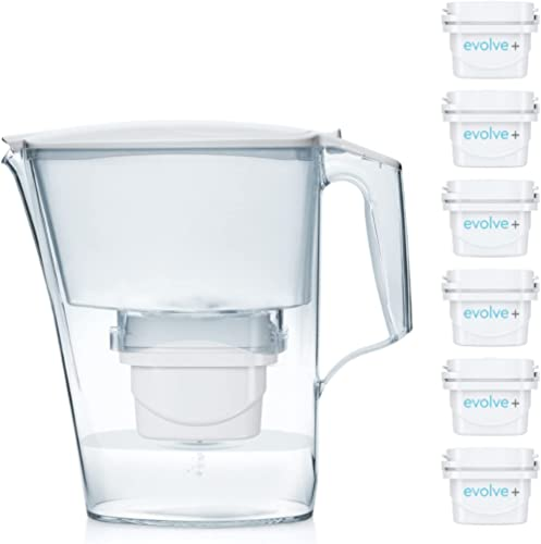 Aqua Optima Oria Carafe Filtre à Eau, Blanc, 2.8Litres, with 6, up to 30 Day Filters (6 Month Pack)