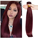 S-noilite Brazilian Straight Human Hair Bundle Unprocessed Remy Human Hair Bundle for Women #99J Wine Red 1 Bundle Total 100g/3.5oz 20 Inch Straight Human Hair Extension