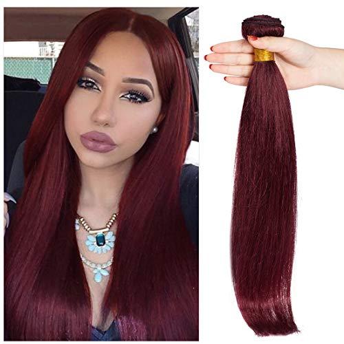 S-noilite Brazilian Straight Human Hair Bundle Unprocessed Remy Human Hair Bundle for Women #99J Wine Red 1 Bundle Total 100g/3.5oz 22 Inch Straight Human Hair Extension