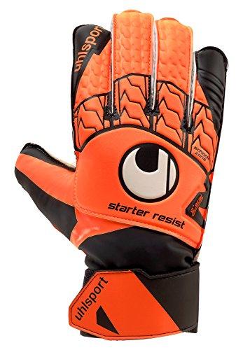 UHLSPORT - UHLSPORT STARTER RESIST - Gant gardien football - Paume Latex Soft - Coupe classique - orange fluo/noir/blanc, Taille 4.5