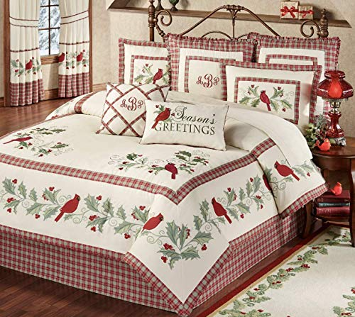 Touch of Class Red Bird Cardinal Comforter Set Christmas Bedding Plaid Holiday Comforter, 8 Piece Set, Ecru California King, Machine Washable, Fits up to 15 inches