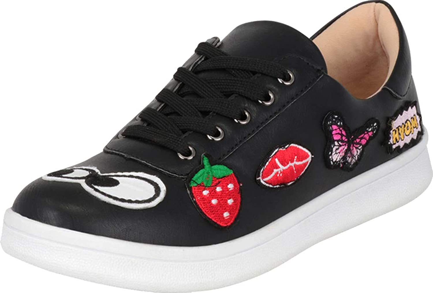 Cambridge Select Women's Low Top Embroidered Patch Lace-Up Flatform Fashion Sneaker
