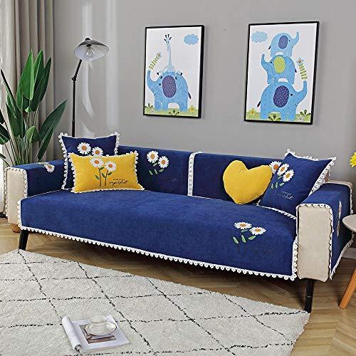 cheslong Funda Protectora para Sofá Cubierta Moderna Protectora de sofá Antideslizante,Cubierta de Asientos de sofá de Flores de Letra,Chenilla sofá showver Show con Encaje-Azul Oscuro_Funda de