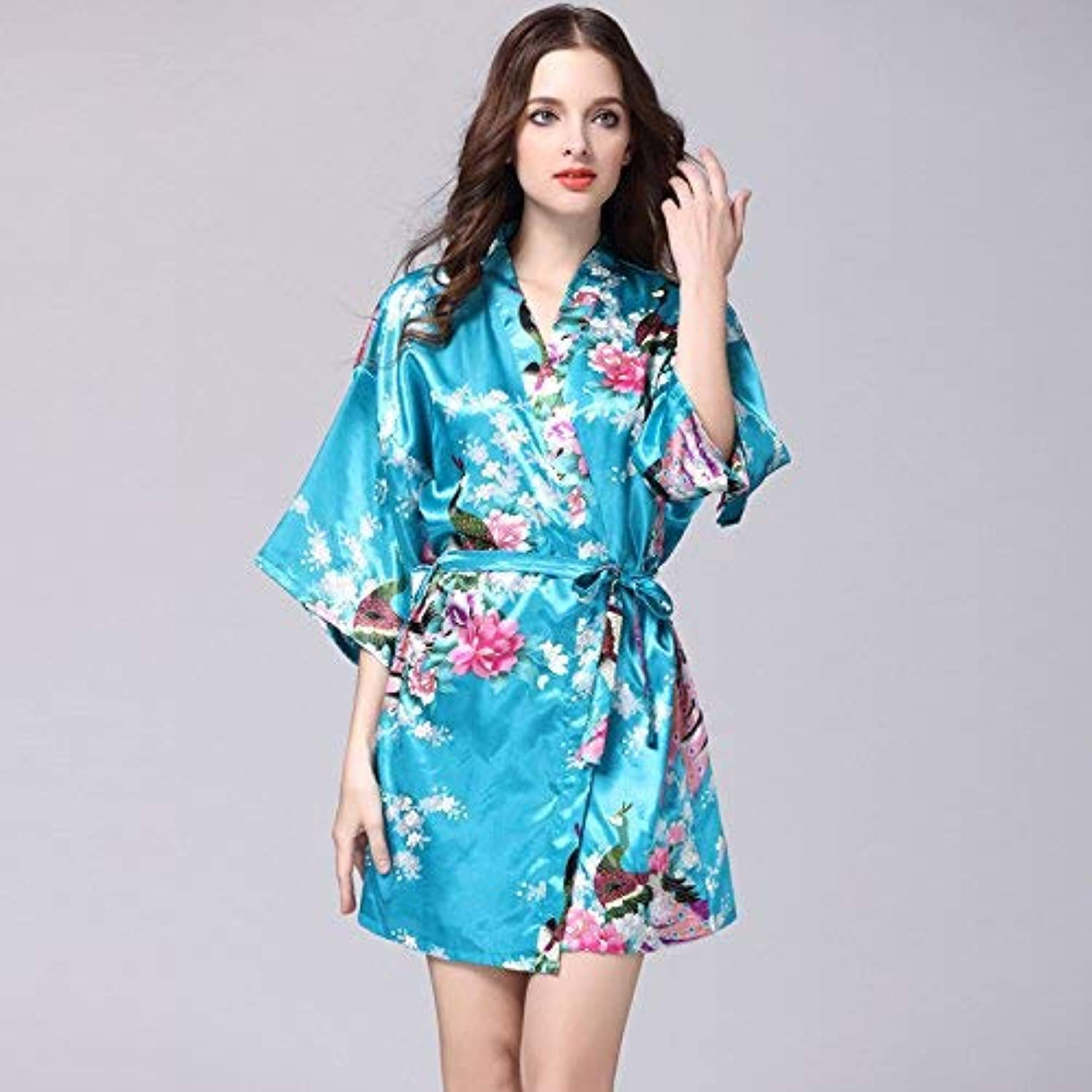 Nightshirt, Simulation Silk Nightgown Ladies Summer Sleeve Peacock Pajamas Bathrobe Large Size Home Service (color   bluee, Size   S) (color   bluee, Size   Medium)