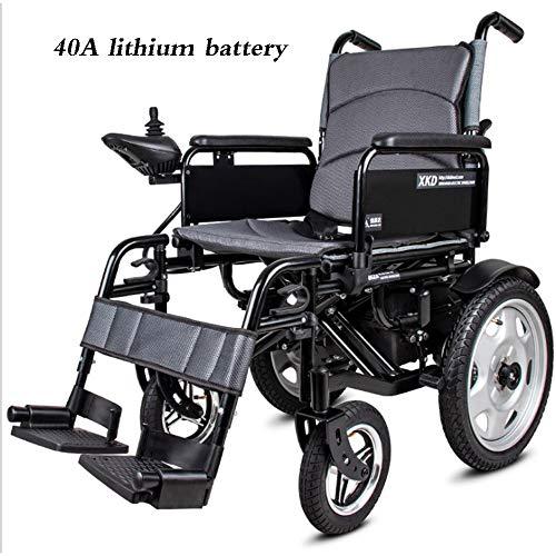 DAZHONG Motorino Anziano Pieghevole della Sedia a rotelle elettrica, piegamento Automatico Intelligente, Leva di Comando a 360 °, capacità di Peso 100 kg Adatta ad Anziani, disabile,40Alithiumbattery