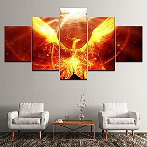 bnkrtopsu 5 Cuadro en Lienzo 5 Fotos Juntas en una Sala de Estar Dormitorio Creativo murales Decorativos y Carteles(Sin Marco) Phoenix Nirvana