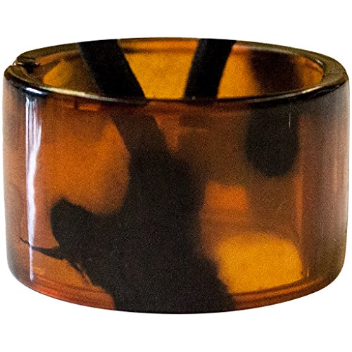 Mia Tony Pony Acrylic Ponytail Cuff | Ponytail Holder Hair Accessory | Translucent Tortoise Brown | 0.75 Inches Wide | for Women, Teens, Girls 1pc