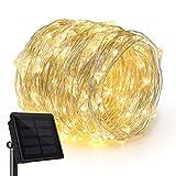 Rophie Cadena solares ledes, 22 m, cable de cobre, impermeable, para interiores, exteriores, luz blanca cálida, 200 Leds