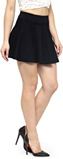 N-Gal Women's Polyester Lycra High Waist Flared Knit Skater Short Mini Skirt