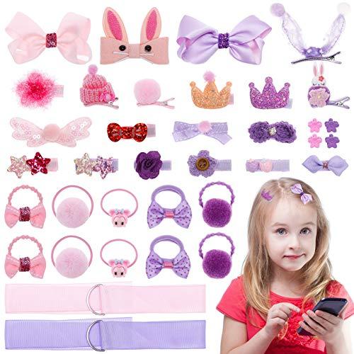MELLIEX 36 Stück Haarspangen Set Mädchen, Baby Haarschmuck Haarschleife Klein Haarnadeln Kinder Haarklammern Set Kopfschmuck Rosa & Lila