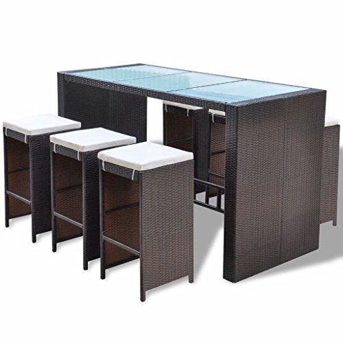 vidaXL Mesa y Sillas Altas para Jardín 7 Piezas con Cojines Poli Ratán Sintético Marrón Juego de Muebles de Bar de Exterior Patio Terraza Tipo Mimbre