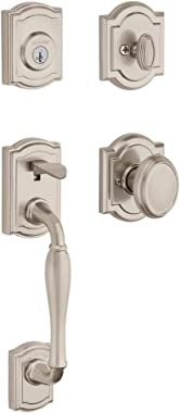 Baldwin Wesley Single Cylinder Front Door Handleset Featuring SmartKey Security in Satin Nickel, Prestige Series with Traditional Door Hardware and Carnaby Knob