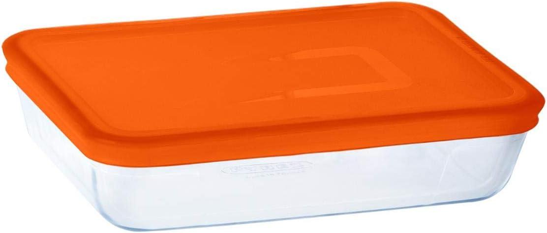 Pyrex RECIP RECT C/T 0,8L Naranja C&Freeze PX, Multicolor, Estándar