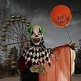 Haunted Hill Farm HHCLOWN-7FLSA Life-Size Animatronic Clown, Indoor/Outdoor Halloween Decoration, Multi