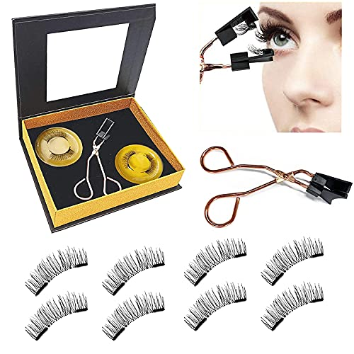 Magnetic lashes NO Eyeliner or Glue Needed New-Update Reusable False Eyelashes Without Eyeliner Two Different Lengths Natural-Looking (2-Pairs/8Pieces) (black)