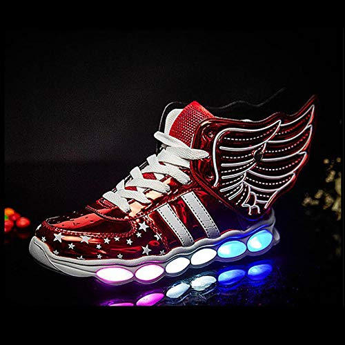 Niños Zapatillas Led Luminioso Unisex Sneakers Zapatos con Luces,Alas-34_1608 Rojo