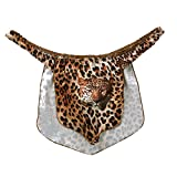 Alvivi Men's High Cut Leopard Animal Print G-string Thongs Jungle Loincloth Costumes Underwear Brown XX-Large