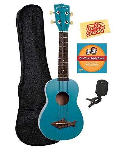 Kala MK-SS-BLU Makala Shark Soprano Ukulele - Mako Blue Bundle with Gig Bag, Tuner, Austin Bazaar Instructional DVD, and Polishing Cloth